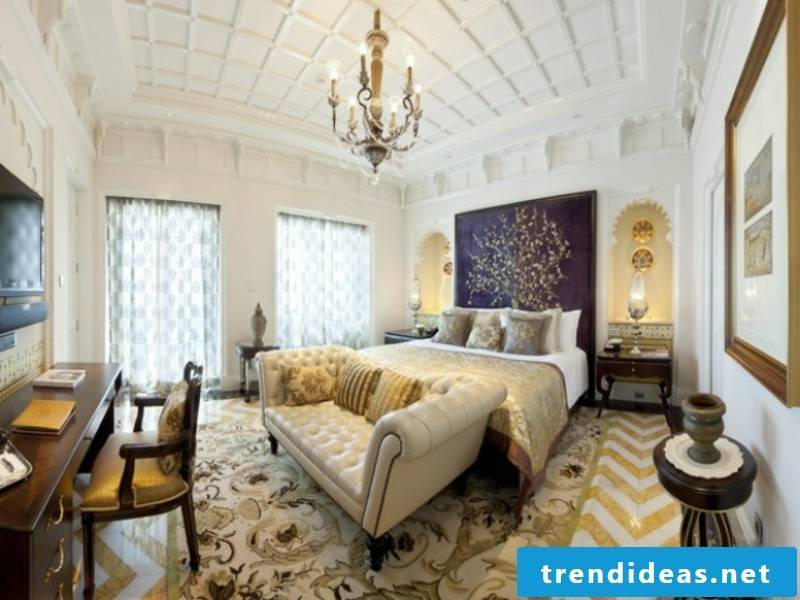 beautiful modern furniture in the luxury bedroom