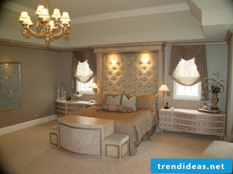 large luxury bedroom with chandelier