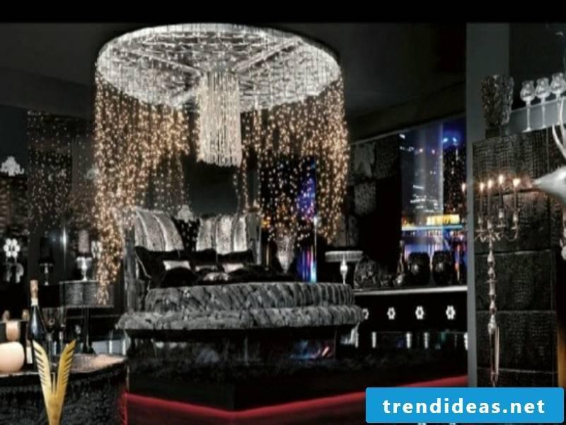 modern crystal lape in the luxury bedroom
