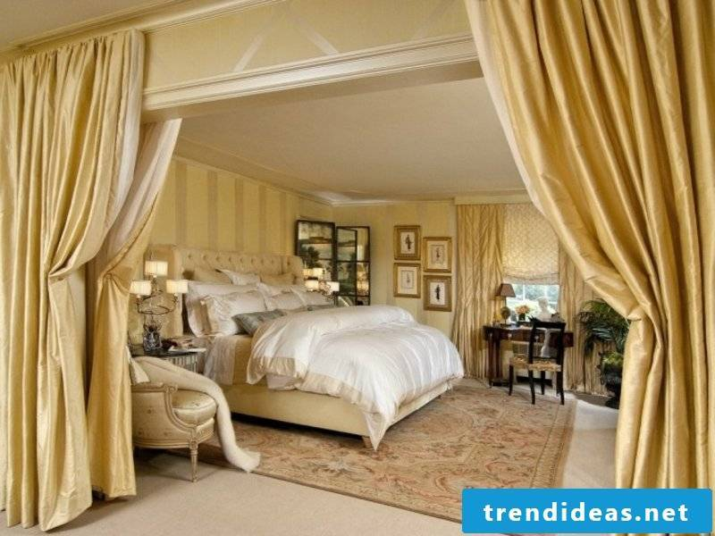 thick golden curtains in the luxury bedroom