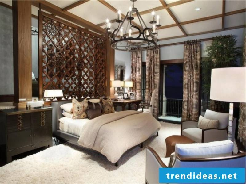 luxury bedroom with wood partition