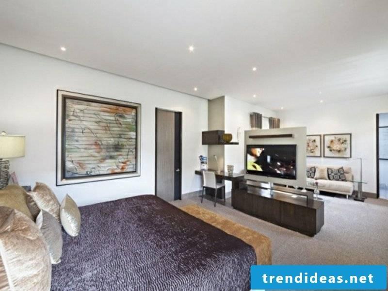 open luxury bedroom with room divider