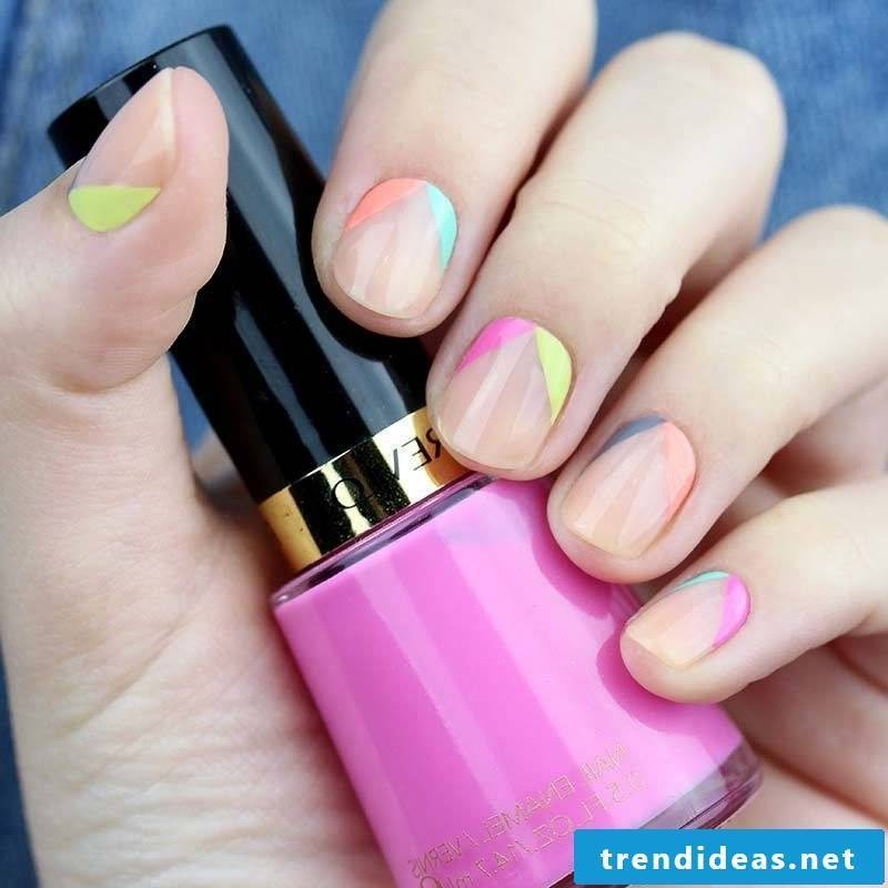 Gel nails pictures - Use pop colors for short nails