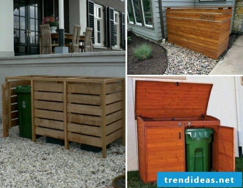 Garbage bins shelter wood