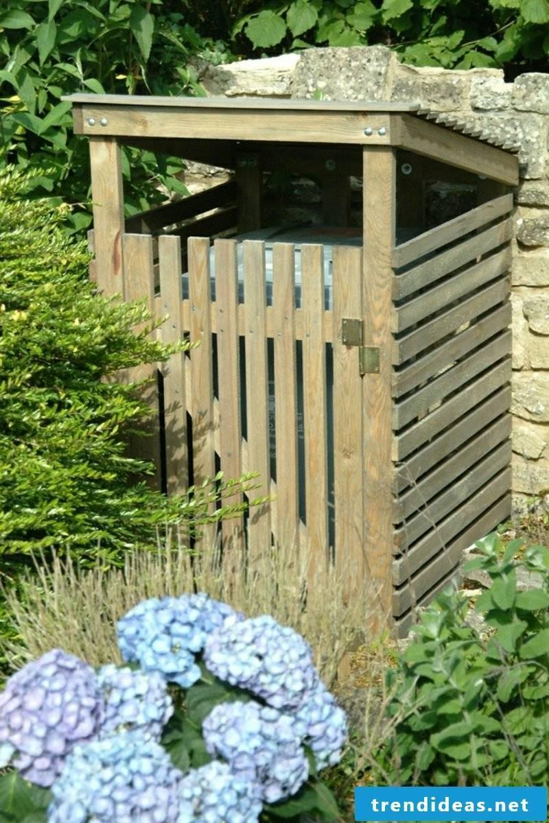 Dustbin cover wood slats open design