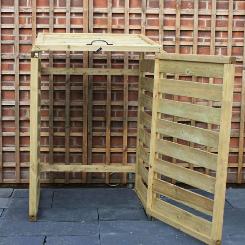 Garbage bin panel wood