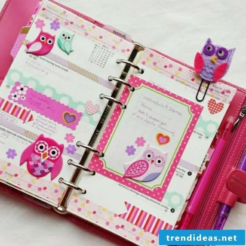Filofaxing timetable pink purple cute owls