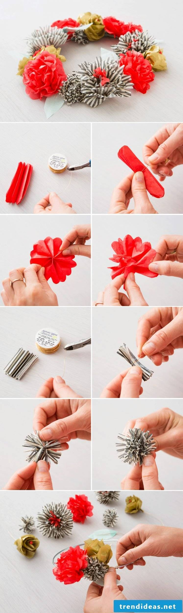 Make your own fabric flowers or DIY paper flower wreath yourself