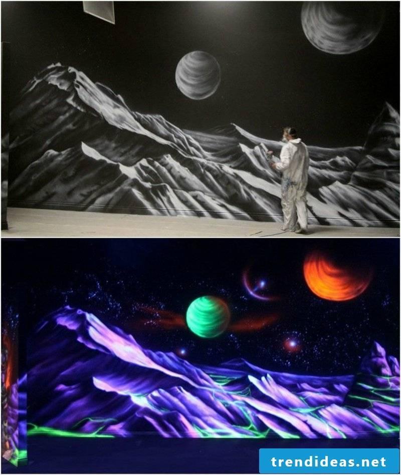 Fluorescent color wall decor Cosmos