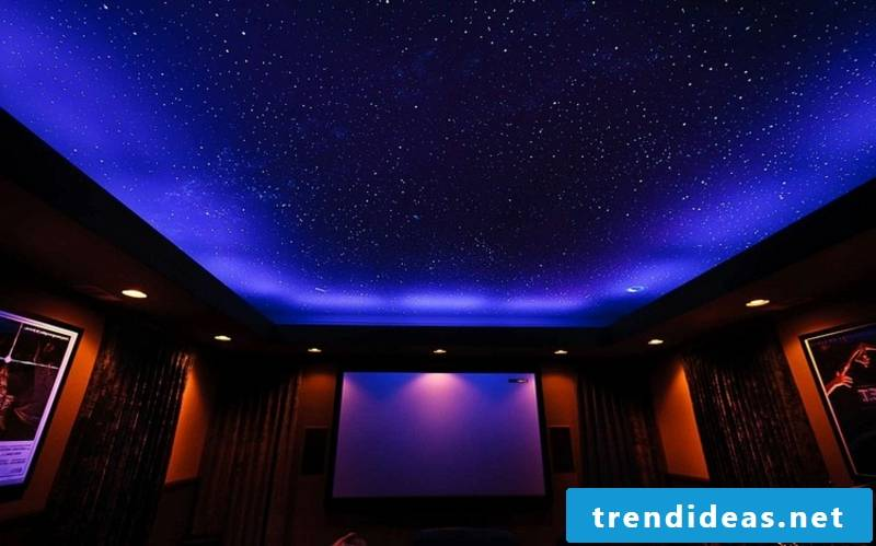 self-luminous colors decorating the ceiling