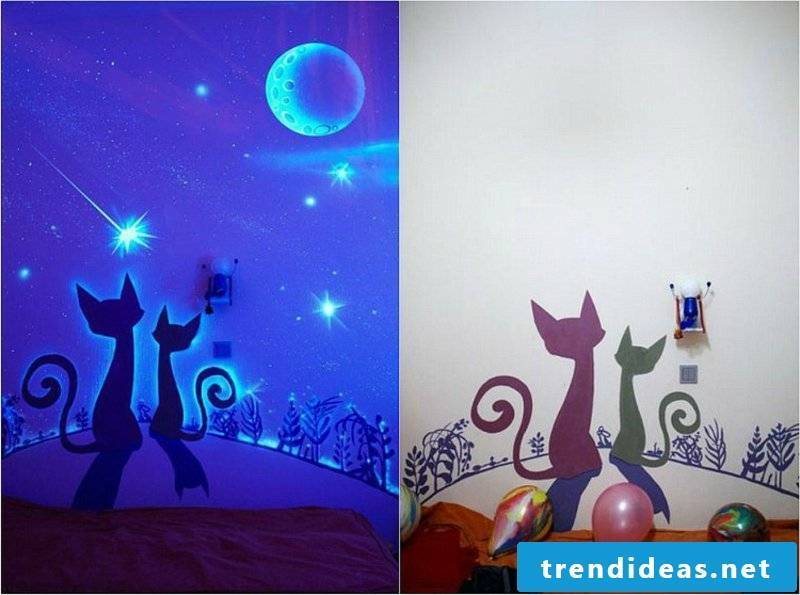 fluorescent color cats wall decoration