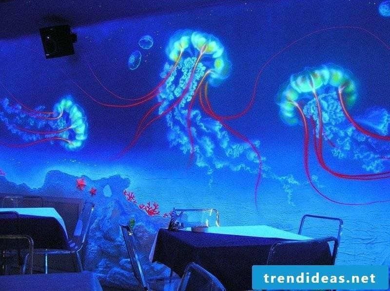 Fluorescent colors underwater world