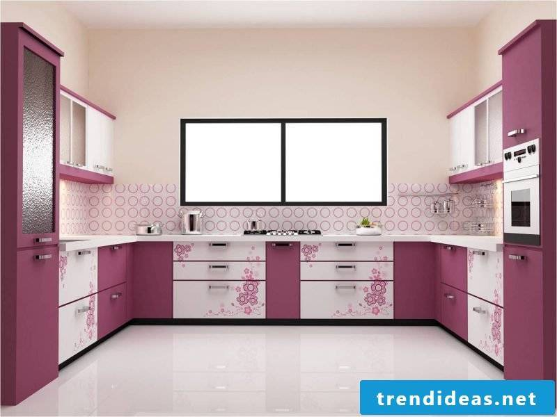 subtle foil cake wall in a purple kitchen gives a simple deisgn