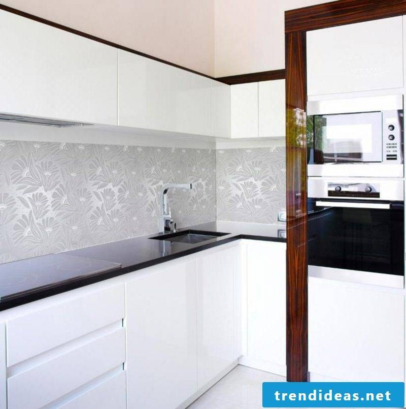 fancy foil cake wall in white nuances brings elegance and style to the kitchen