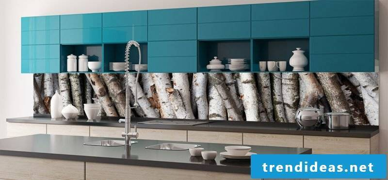 foil kitchen back wall in a modern kitchen sets wood optics accents