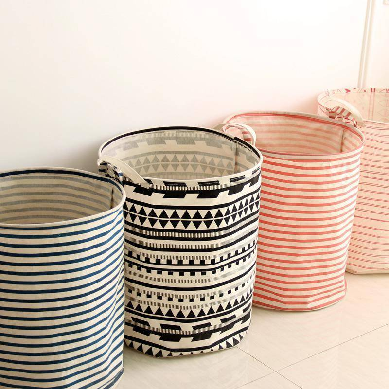 Many beautiful patterns for laundry baskets