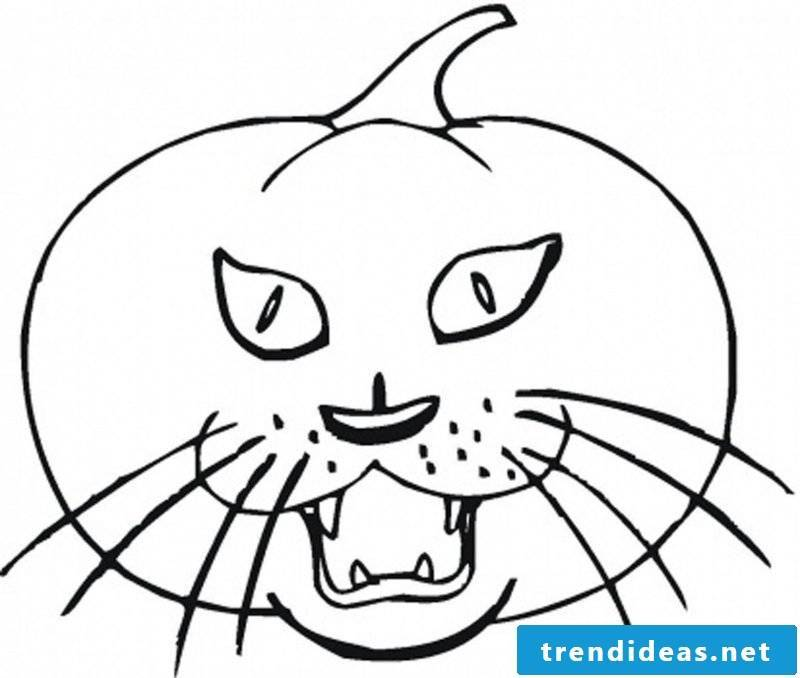 Coloring pages for Halloween with a pumpkin with cat face