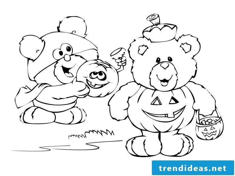 The bears are also an important part of Halloween coloring pages