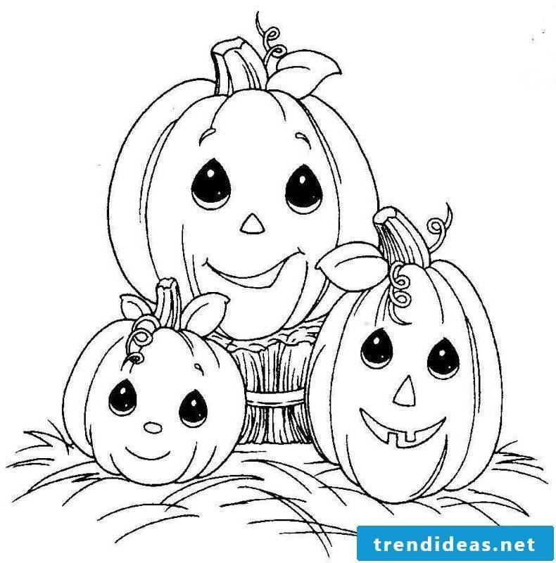 Coloring pages for Halloween: The pumpkins can also be funny