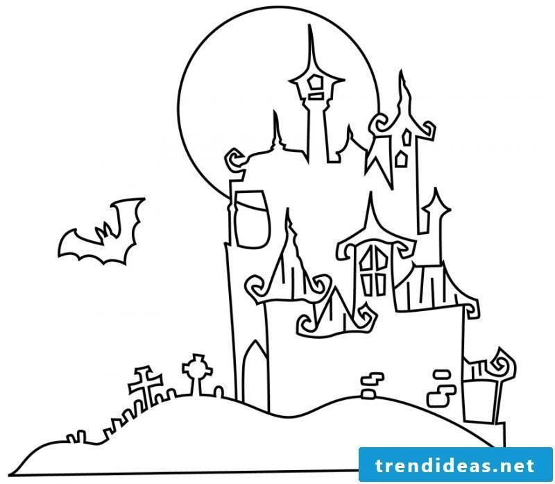 Coloring pages for Halloween with the Dracula Castle