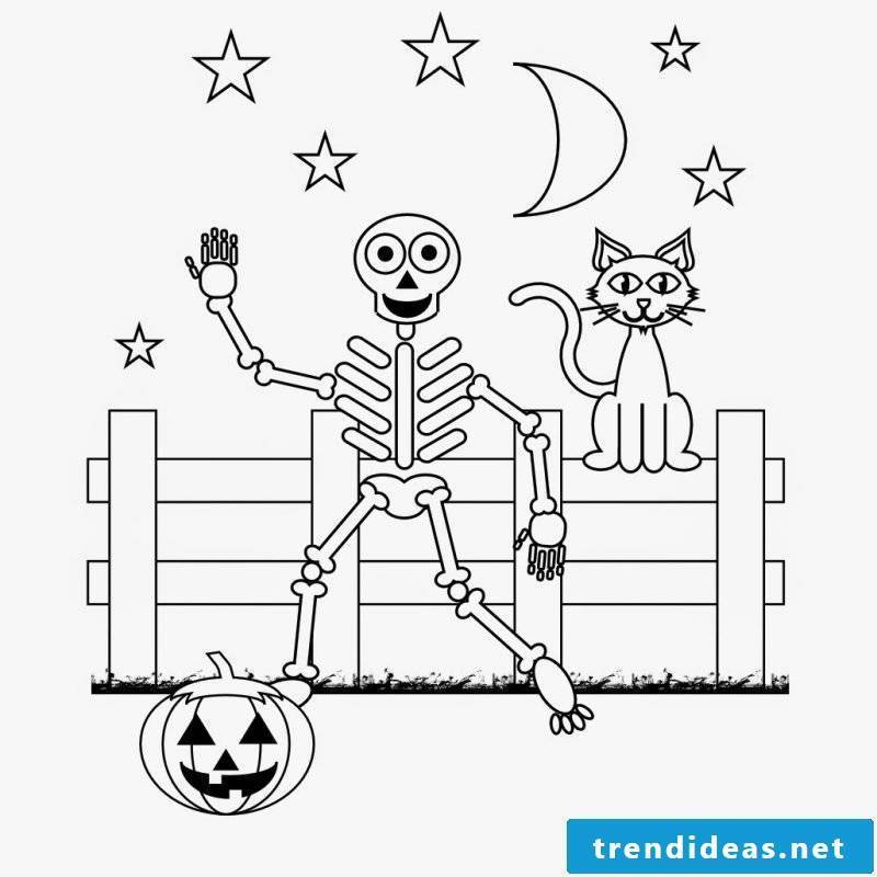Halloween coloring pages: skeleton can be friendly as well