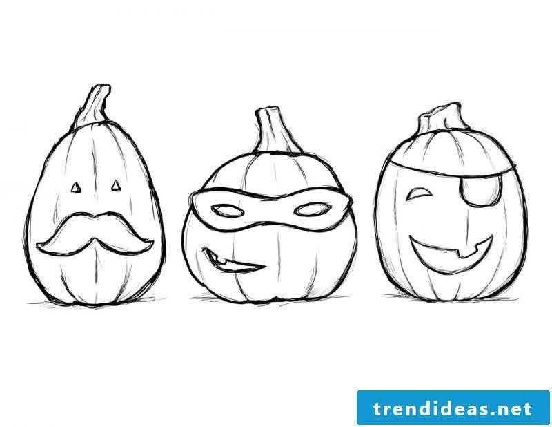 Coloring pages for Halloween with funny pumpkins