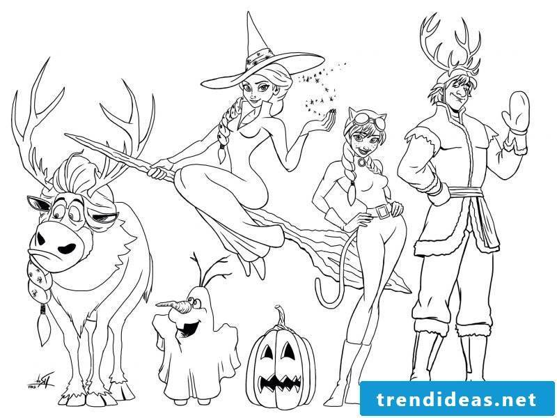 Coloring pages for Halloween Frozen