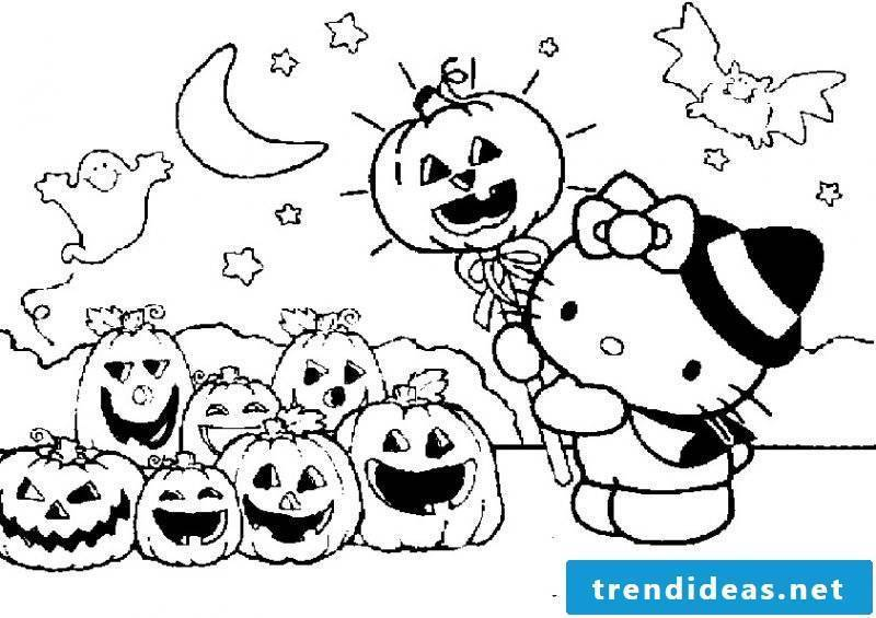 Halloween coloring pages with Hello Kitty are most preferred by girls