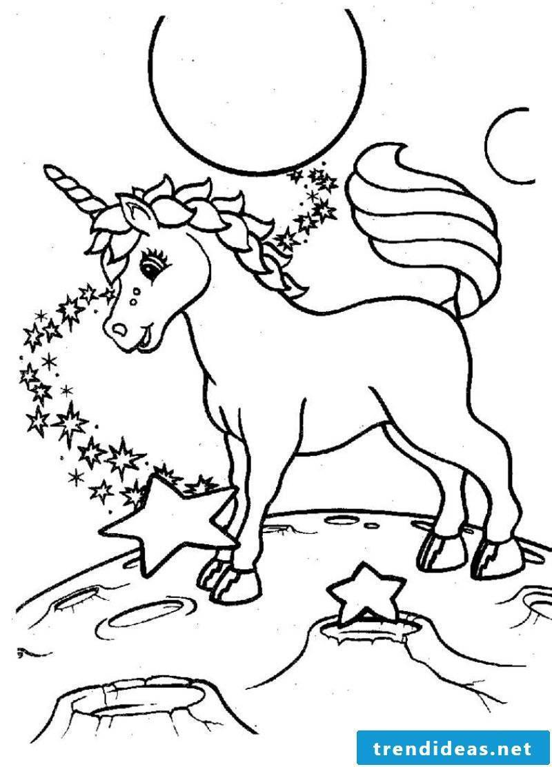 Coloring page animals unicorn, moon and stars