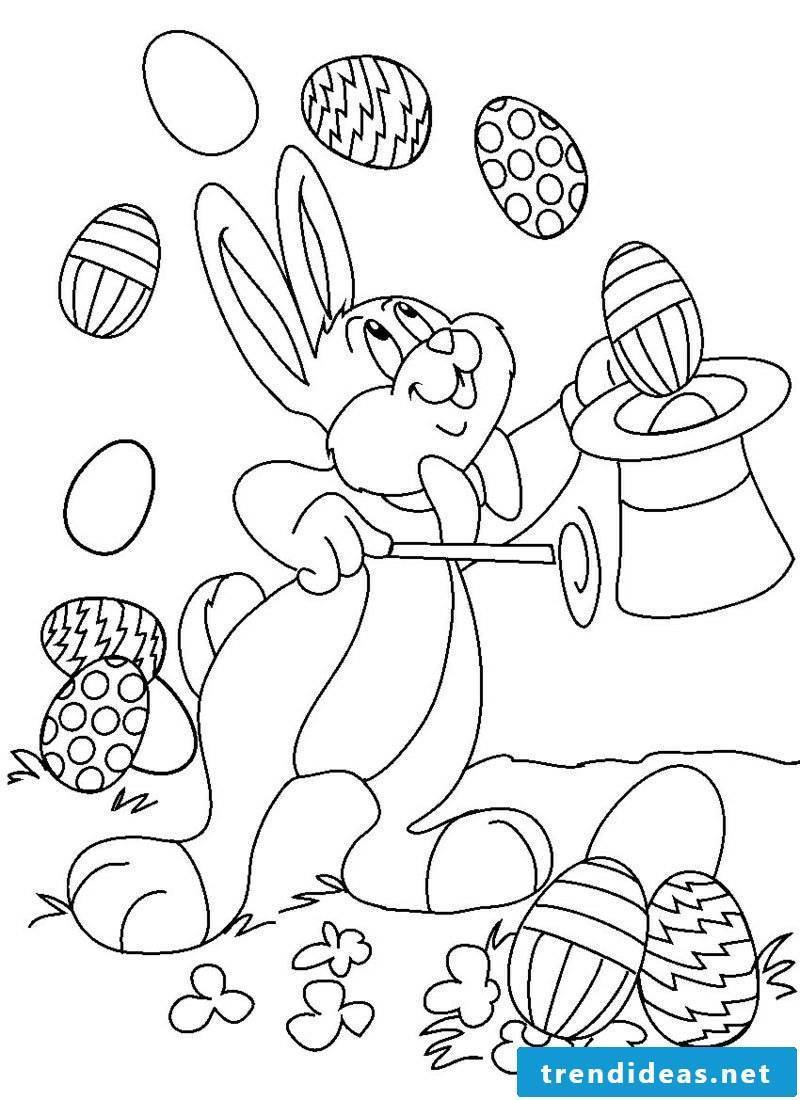 Coloring page free Easter bunny wizard