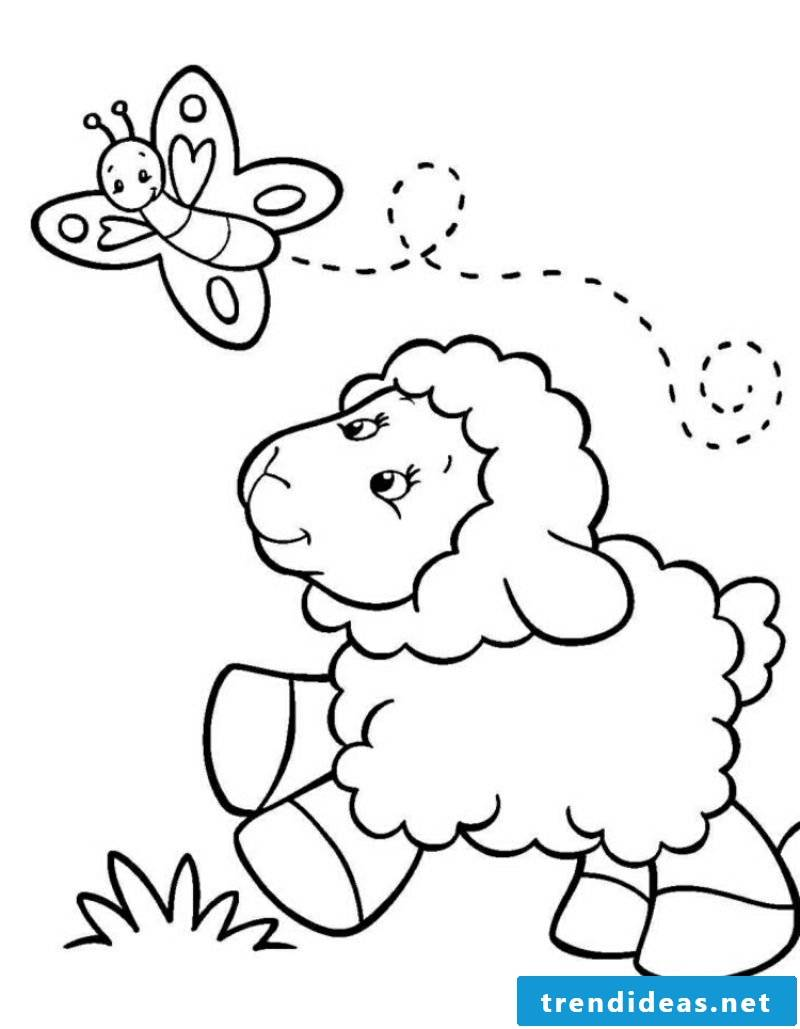 Coloring page animals Shaf and butterfly