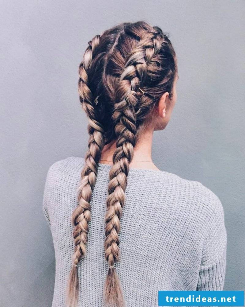 double French pigtail instruction braids