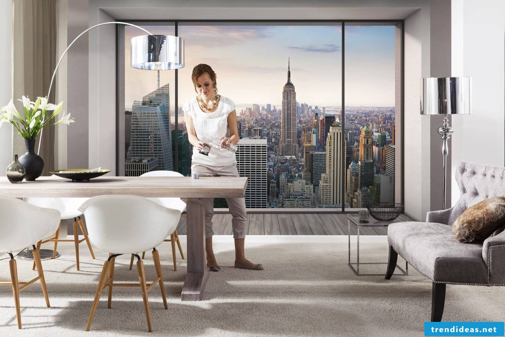 The urban style vinyl photo wallpaper is the face of the new home trend