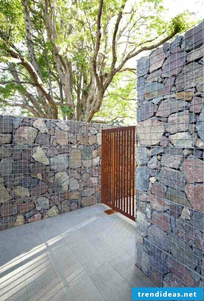 Gabion wall as a design element in the outdoor area