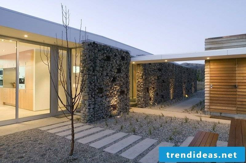 high gabion wall privacy in the outdoor area