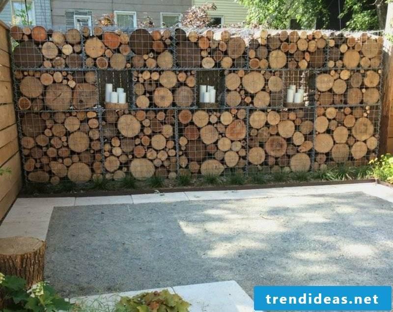 attractive wooden gabion wall
