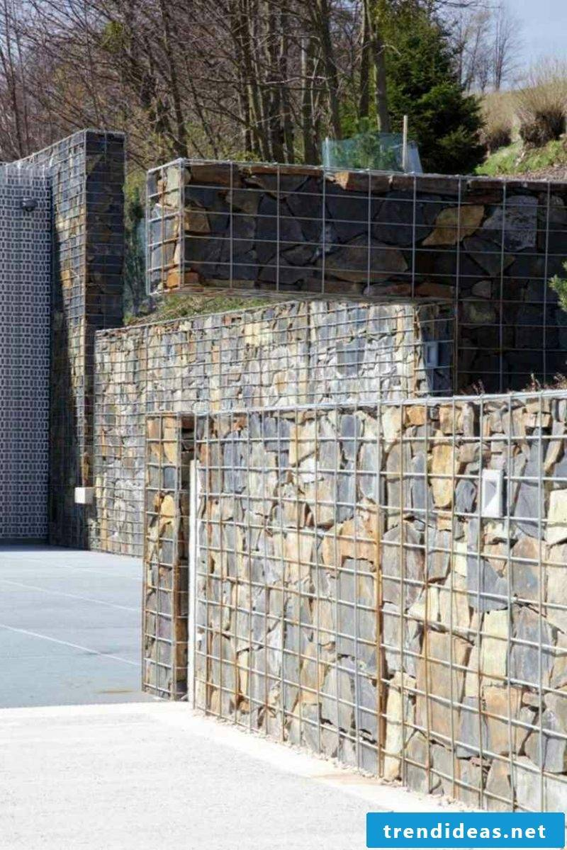 modern Gabion stone wall