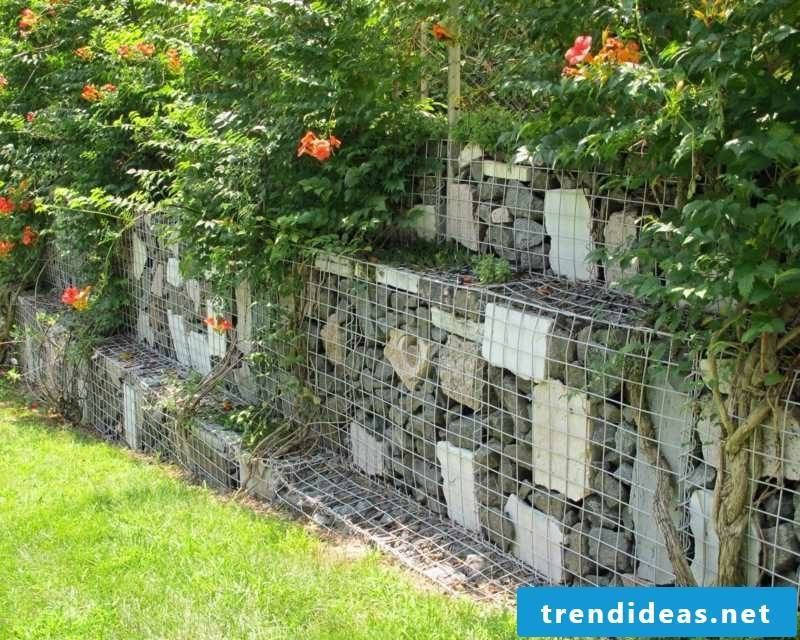 Gabion wall built step by step