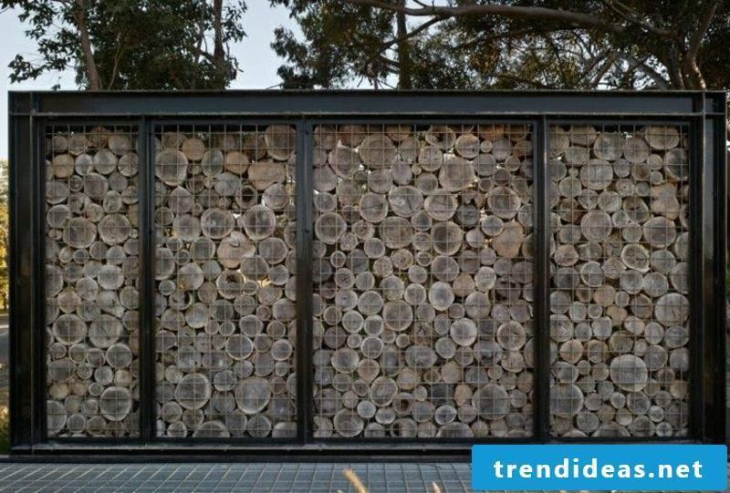 Gabion wall wood attractive design ideas