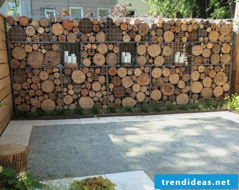 Gabion fence wood