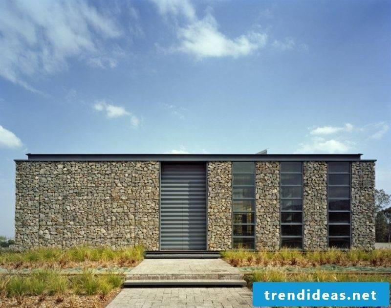 House facade with gabions