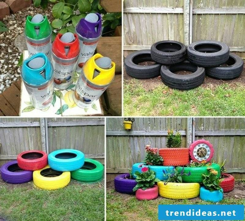 Garden ideas for little money to decorate old car tires