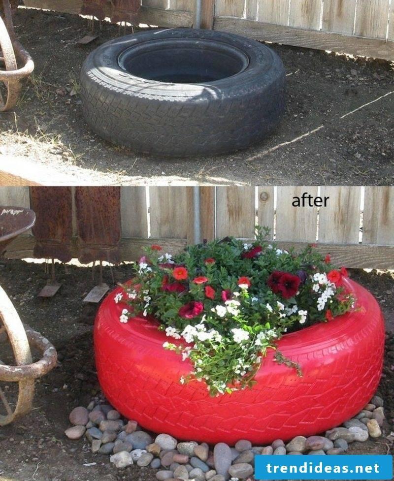 Garden ideas for little money Car tire flower pot