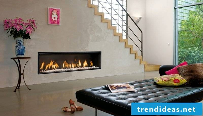 The gas fireplaces are equipped with a patented safety system, which prevents overpressure in the chimney.