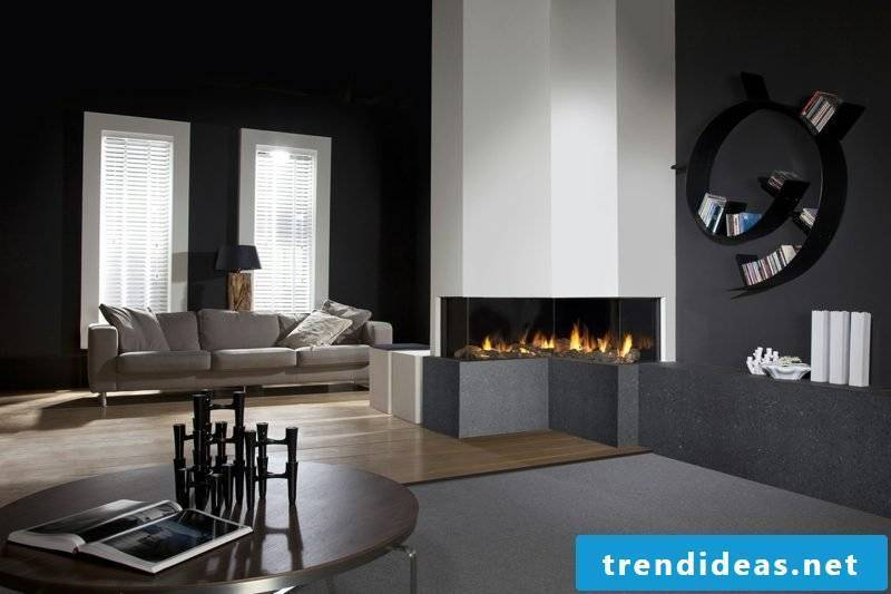 Decorative gas fireplaces with closed combustion system