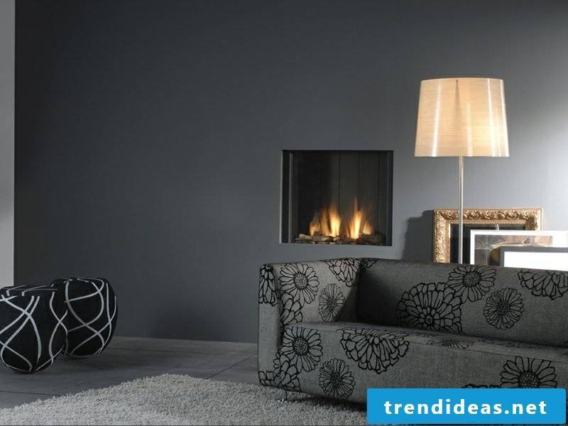 Modern corner fireplace with gas fire, closed