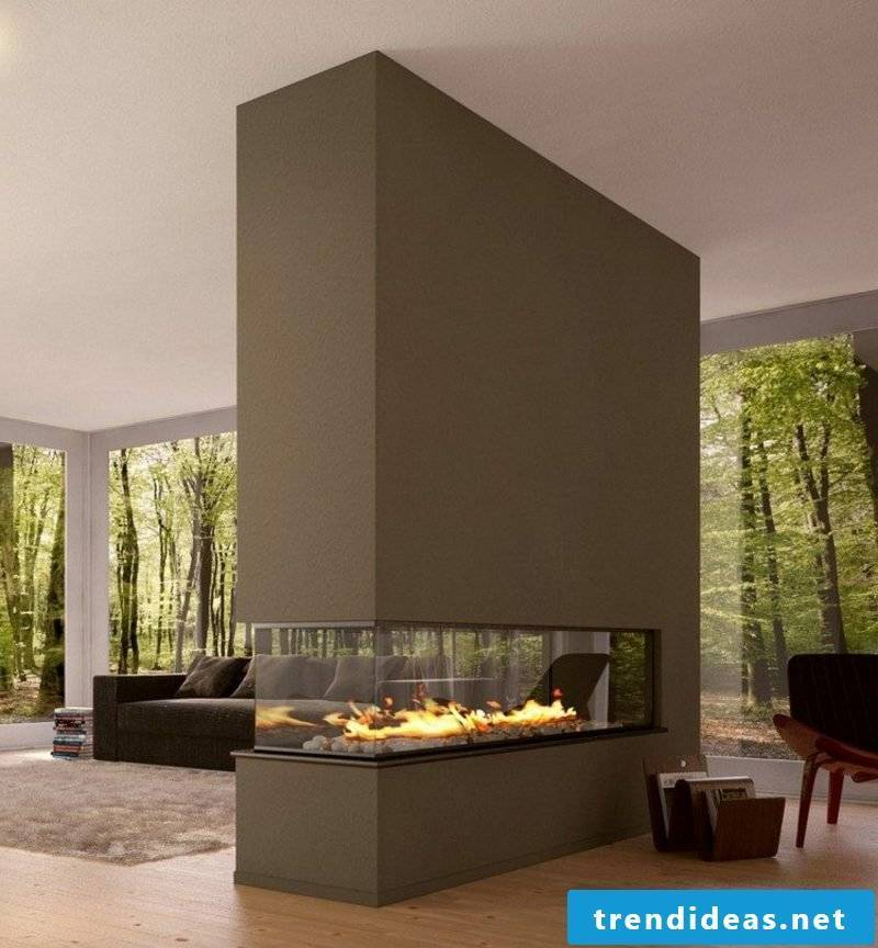 TV fireplace, is with integrated gas fireplace