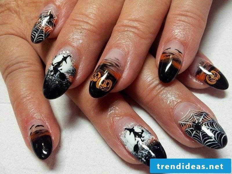 Gel nails motifs for Halloween: Professional design