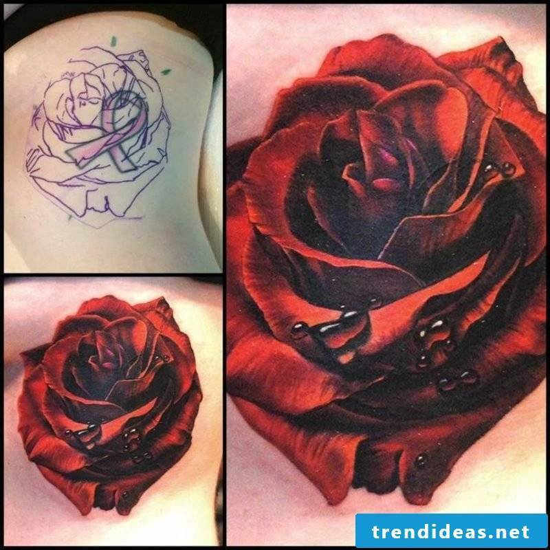 Cover up Tattoo Rose gorgeous color design