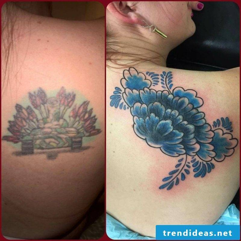 Cover up tattoo woman's shoulder